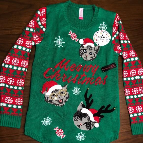 Meowy Christmas Light Up Christmas Sweater NWT